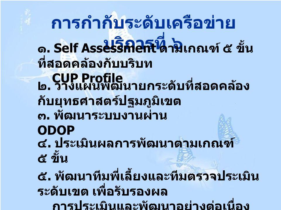 การกำกับระดับเครือข่าย บริการที่ ๖ ๑. Self Assessment ตามเกณฑ์ ๕ ขั้น ที่สอดคล้องกับบริบท CUP Profile ๒. วางแผนพัฒนายกระดับที่สอดคล้อง กับยุทธศาสตร์ปฐ