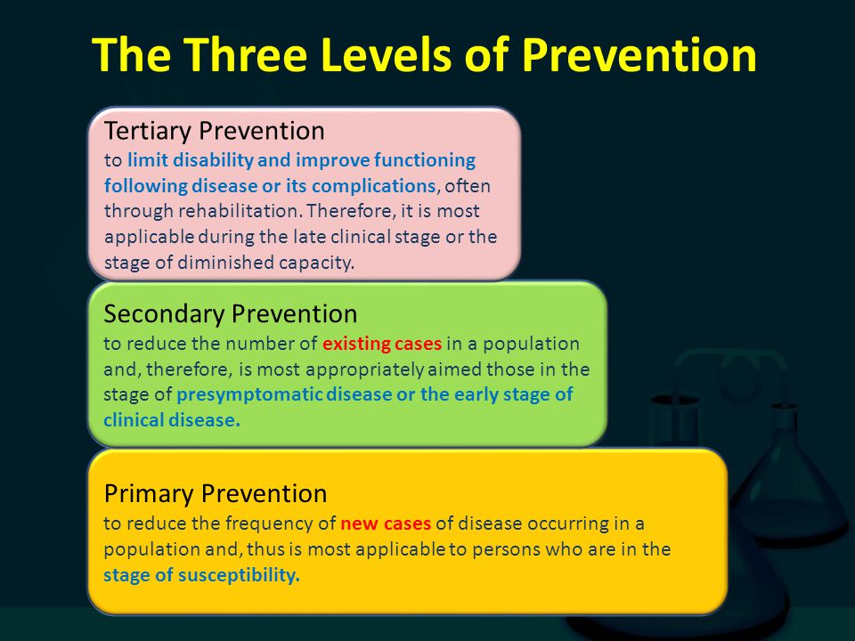 The Three Levels of Prevention Primary Prevention to reduce the frequency of new cases of disease occurring in a population and, thus is most applicab