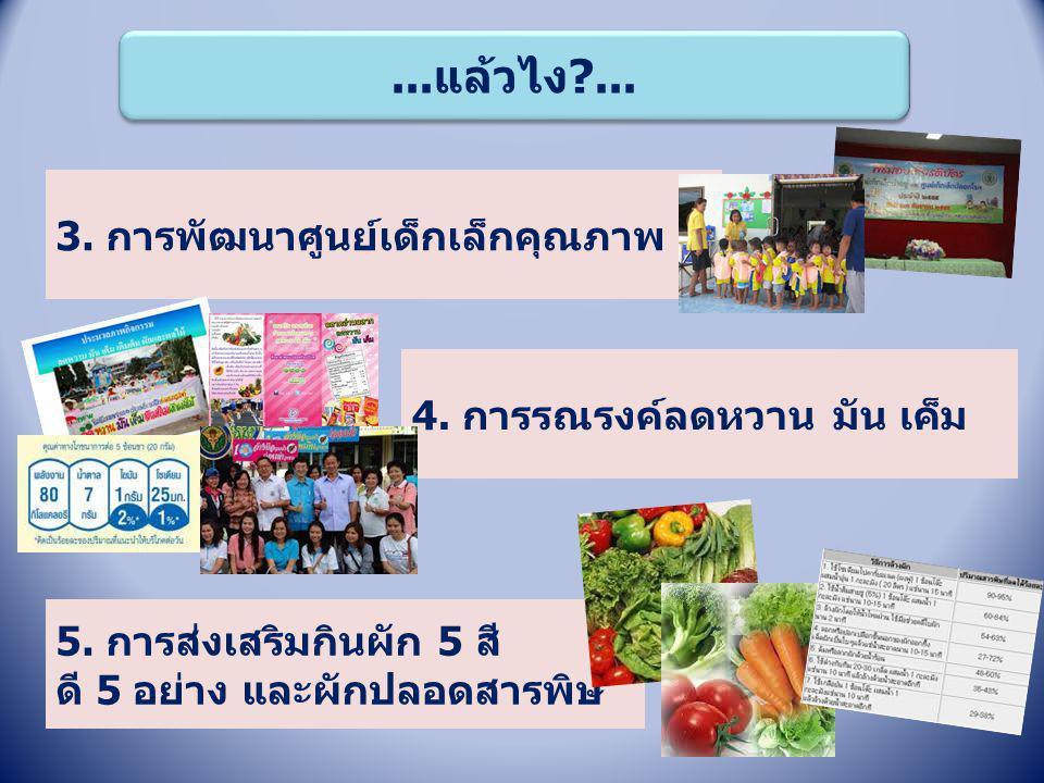 ...แล้วไง?... 3. การพัฒนาศูนย์เด็กเล็กคุณภาพ 4. การรณรงค์ลดหวาน มัน เค็ม 5. การส่งเสริมกินผัก 5 สี ดี 5 อย่าง และผักปลอดสารพิษ
