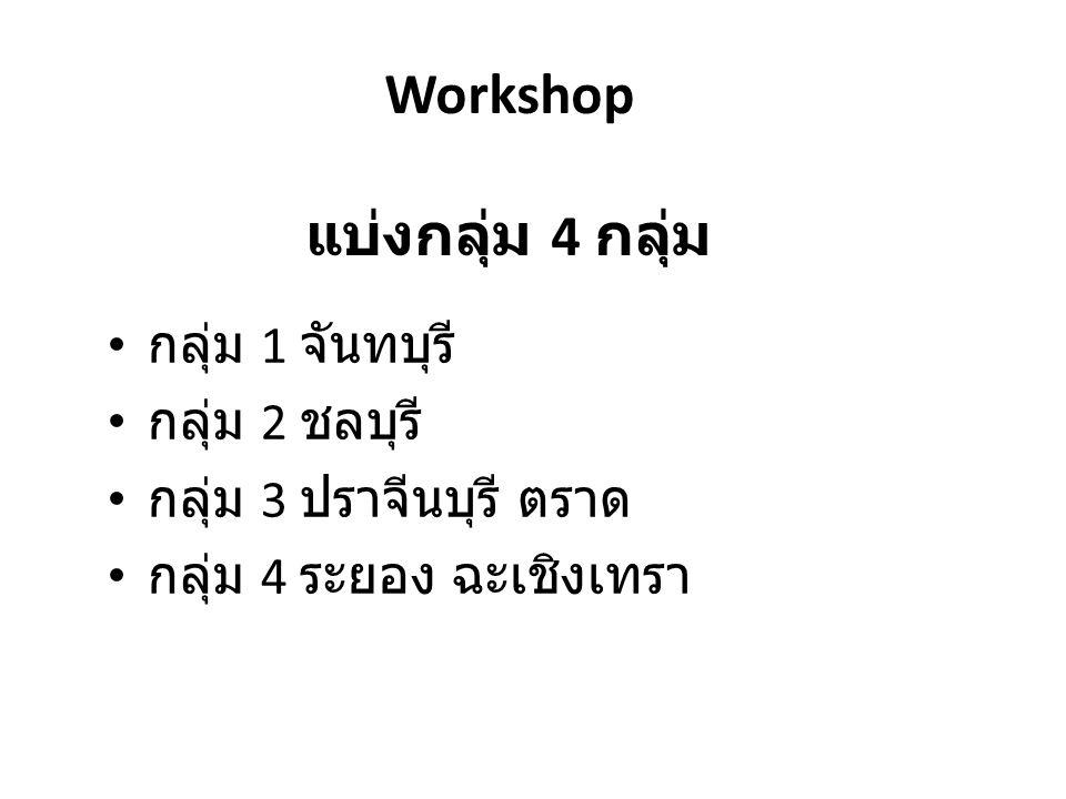 Workshop แบ่งกลุ่ม 4 กลุ่ม กลุ่ม 1 จันทบุรี กลุ่ม 2 ชลบุรี กลุ่ม 3 ปราจีนบุรี ตราด กลุ่ม 4 ระยอง ฉะเชิงเทรา