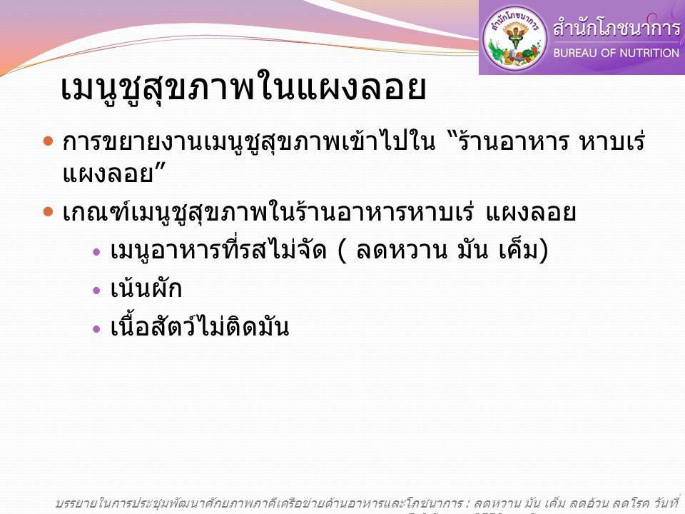เมนูชูสุขภาพ ครัวไทย สู่ อาเซียน ร้านอาหาร CFGT ในแหล่งท่องเที่ยวจังหวัดนำ ร่อง 5 จังหวัด เชียงใหม่ เชียงราย ภูเก็ต กระบี่ พระนครศรีอยุธยา จังหวัดละ 5 ร้าน บรรยายในการประชุมพัฒนาศักยภาพภาคีเครือข่ายด้านอาหารและโภชนาการ : ลดหวาน มัน เค็ม ลดอ้วน ลดโรค วันที่ 5-6 มีนาคม 2556 ณ ทีเคพาเลซ กรุงเทพมหานคร