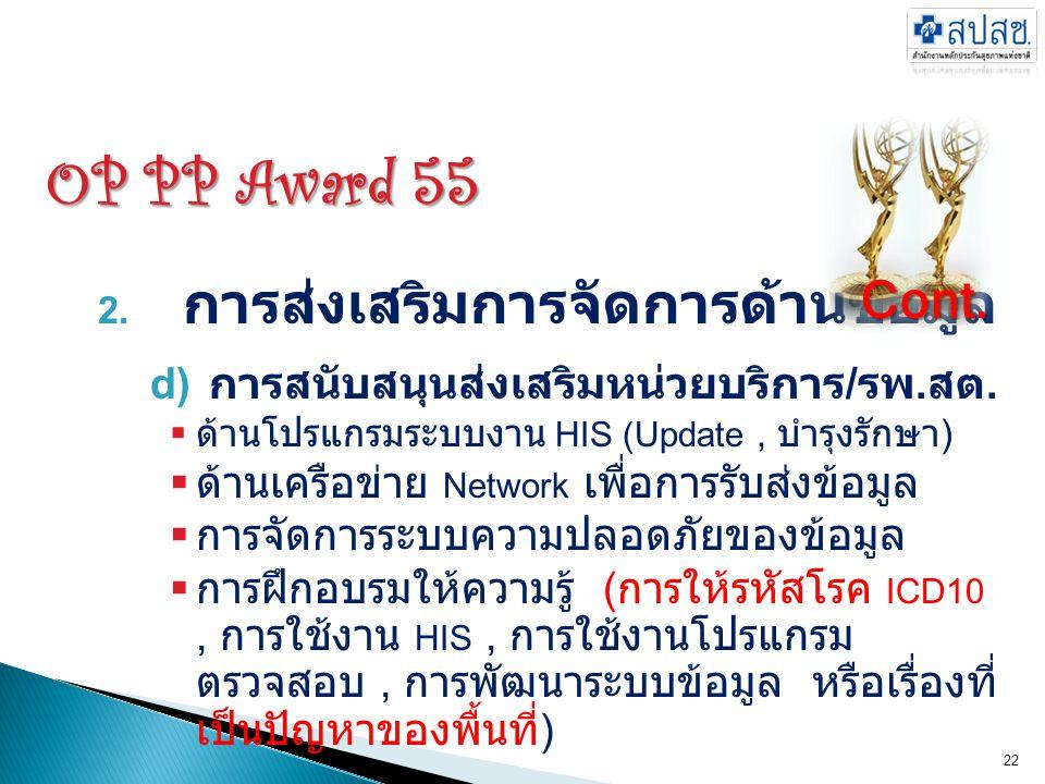 OP PP Award 55 2. การส่งเสริมการจัดการด้านข้อมูล d) การสนับสนุนส่งเสริมหน่วยบริการ / รพ. สต.  ด้านโปรแกรมระบบงาน HIS (Update, บำรุงรักษา )  ด้านเครื