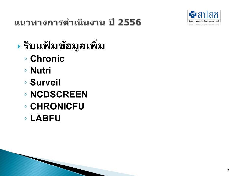  รับแฟ้มข้อมูลเพิ่ม ◦ Chronic ◦ Nutri ◦ Surveil ◦ NCDSCREEN ◦ CHRONICFU ◦ LABFU 7