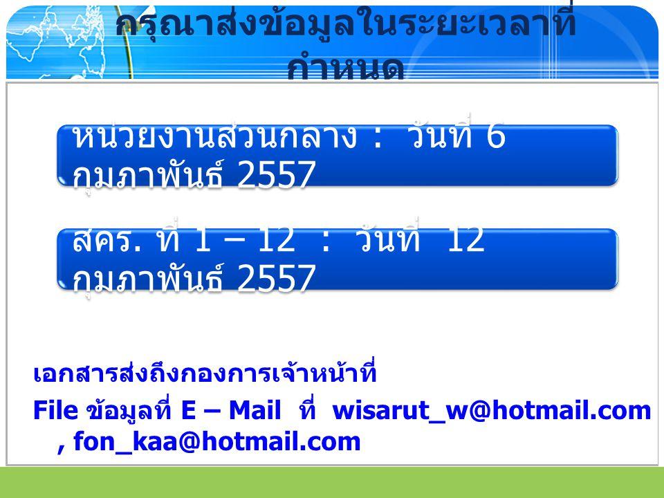 www.themegallery.com กรุณาส่งข้อมูลในระยะเวลาที่ กำหนด เอกสารส่งถึงกองการเจ้าหน้าที่ File ข้อมูลที่ E – Mail ที่ wisarut_w@hotmail.com, fon_kaa@hotmai