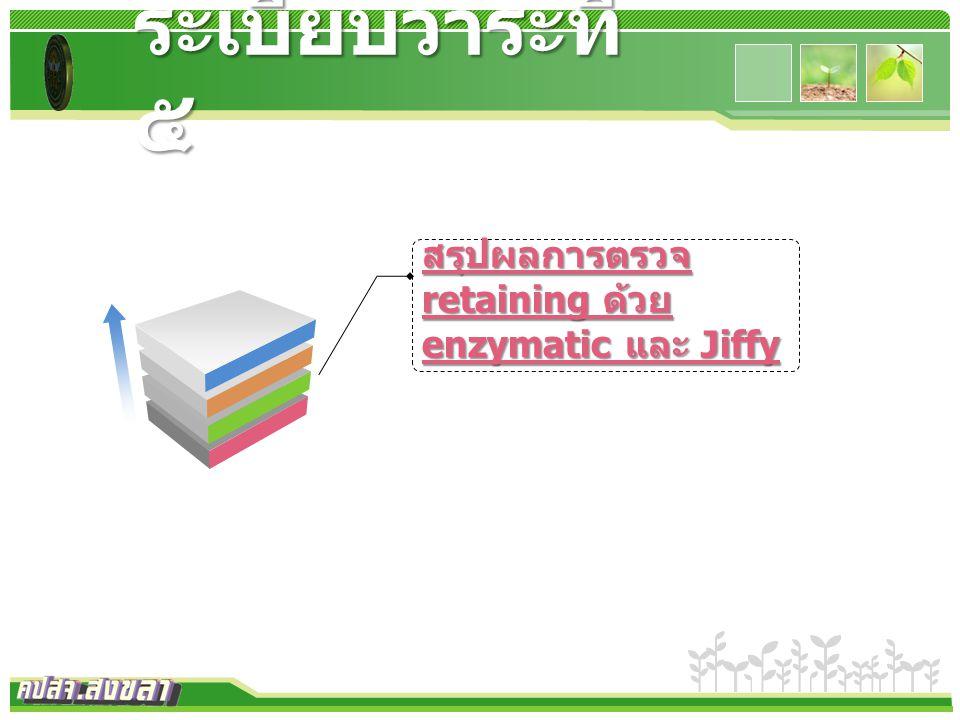 www.themegallery.com ระเบียบวาระที่ ๕ สรุปผลการตรวจ retaining ด้วย enzymatic และ Jiffy สรุปผลการตรวจ retaining ด้วย enzymatic และ Jiffy