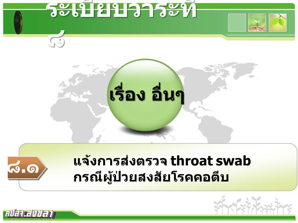www.themegallery.com เรื่อง อื่นๆ ระเบียบวาระที่ ๘ ๘.๑๘.๑ แจ้งการส่งตรวจ throat swab กรณีผู้ป่วยสงสัยโรคคอตีบ