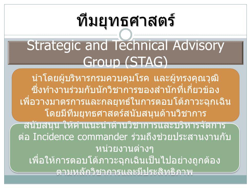 ทีมยุทธศาสตร์ Strategic and Technical Advisory Group (STAG) นำโดยผู้บริหารกรมควบคุมโรค และผู้ทรงคุณวุฒิ ซึ่งทำงานร่วมกับนักวิชาการของสำนักที่เกี่ยวข้อ