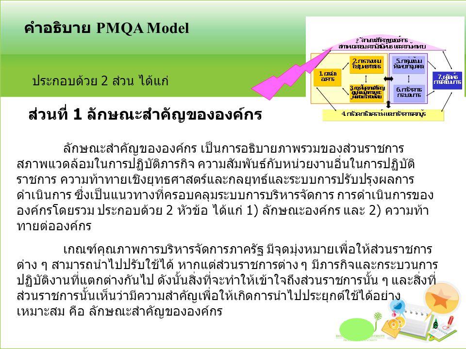 กำหนดกระบวนการ ข้อกำหนดที่สำคัญ ออกแบบกระบวนการ จัดทำมาตรฐาน การปฏิบัติงาน การจัดการกระบวนการ หมวด 6 - สอดคล้องยุทธศาสตร์และพันธกิจ - ความต้องการของ C/SH (หมวด3) - ความต้องการของ C/SH (หมวด3) - ประสิทธิภาพของกระบวนการ - ความคุ้มค่าและลดต้นทุน - ข้อกำหนดด้านกฎหมาย กฎ ระเบียบ - องค์ความรู้และเทคโนโลยีใหม่ๆ ที่เปลี่ยนแปลงไป - ขั้นตอนระยะเวลาการปฏิบัติที่เหมาะสม - ปัจจัยเรื่องประสิทธิภาพและประสิทธิผล สร้างคุณค่า สนับสนุน ประกาศใช้ เผยแพร่ ปรับปรุง ประเมินผล นำไปปฏิบัติ ระบบรองรับภาวะฉุกเฉิน ที่อาจ เกิดขึ้นและมีผลกระทบต่อ การจัดการกระบวนการ เพื่อให้ ส่วนราชการจะสามารถ ดำเนินงานได้อย่างต่อเนื่อง PM 1 PM 2 PM 3 PM 5 PM 4 PM 6 17