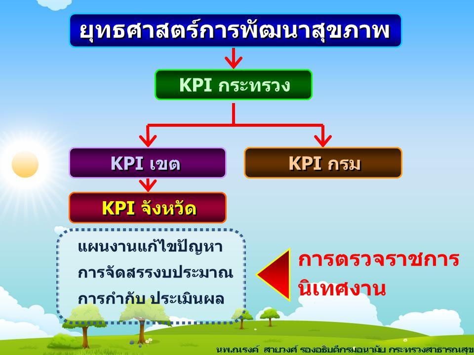 การตรวจราชการ นิเทศงาน ยุทธศาสตร์การพัฒนาสุขภาพ KPI กระทรวง KPI เขต KPI กรม KPI จังหวัด แผนงานแก้ไขปัญหา การจัดสรรงบประมาณ การกำกับ ประเมินผล