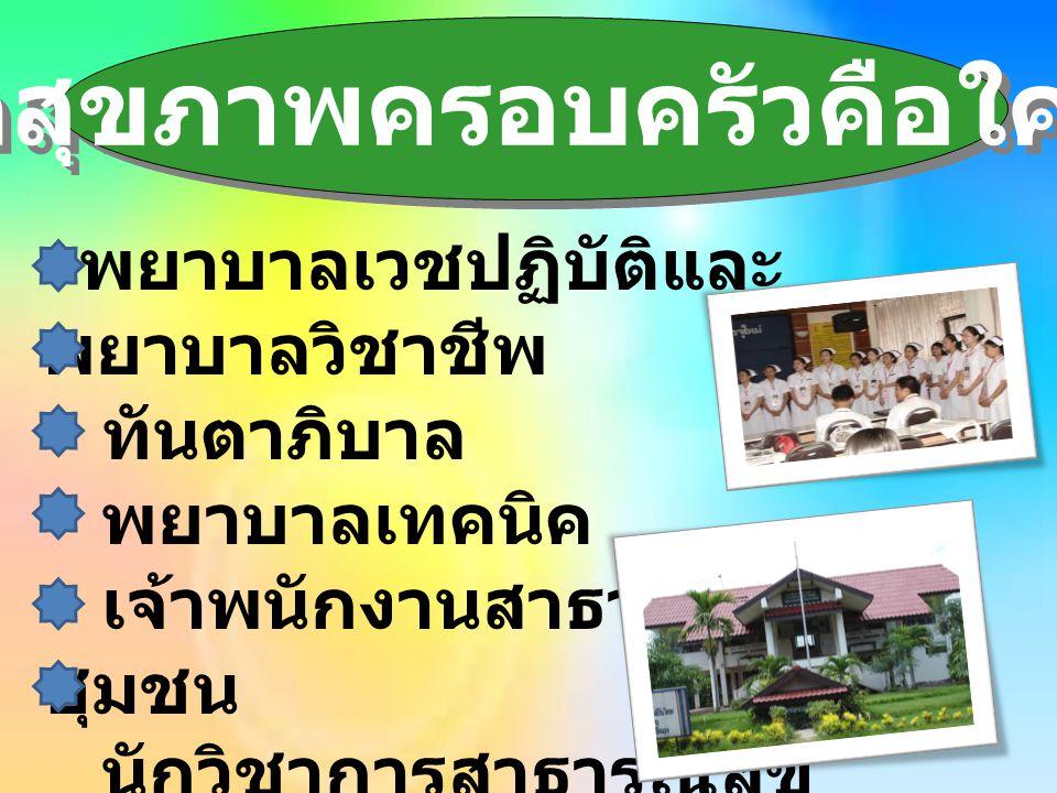 นักสุขภาพครอบครัวคือใคร ? พยาบาลเวชปฏิบัติและ พยาบาลวิชาชีพ ทันตาภิบาล พยาบาลเทคนิค เจ้าพนักงานสาธารณสุข ชุมชน นักวิชาการสาธารณสุข แพทย์แผนไทย