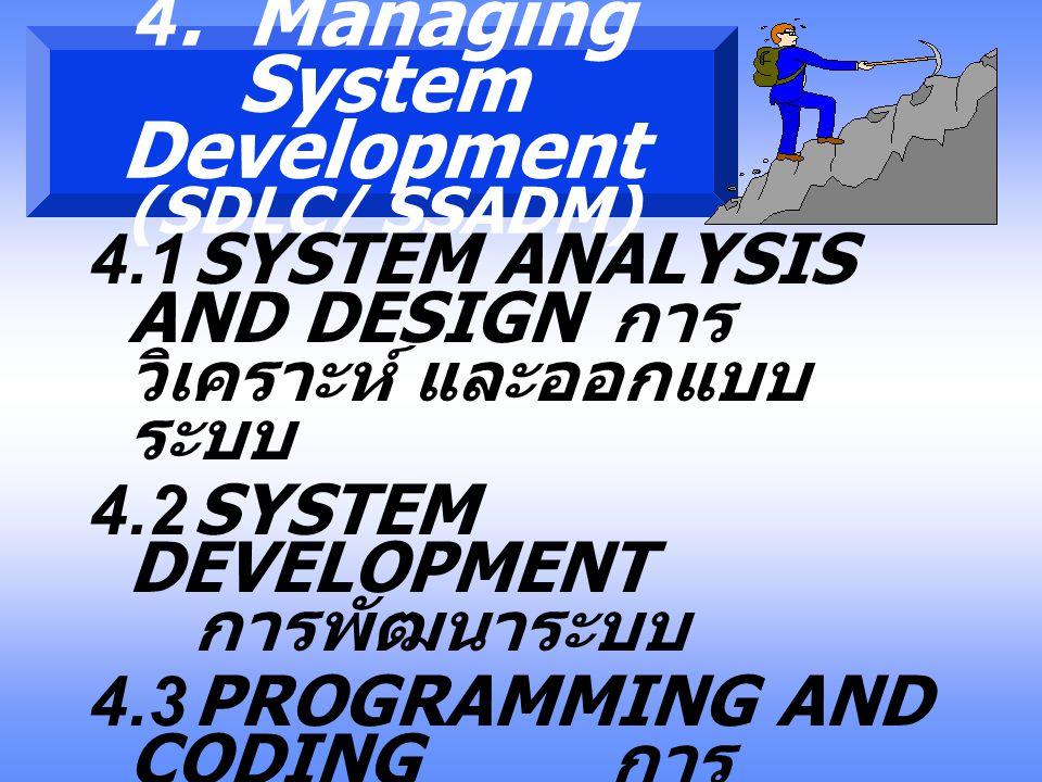 3. Planning and Control 3.1 STRATEGIC PLAN นโยบาย 3.2 MASTER PLAN แผนหลัก 3.3 EVALUATION การ ประเมินผล 3.4 MANAGEMENT การบริหาร ( หรือการจัดการ )