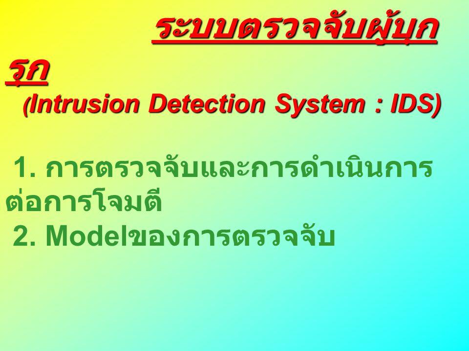 ระบบตรวจจับผู้บุก รุก ระบบตรวจจับผู้บุก รุก ( Intrusion Detection System : IDS) ( Intrusion Detection System : IDS) 1. การตรวจจับและการดำเนินการ ต่อกา