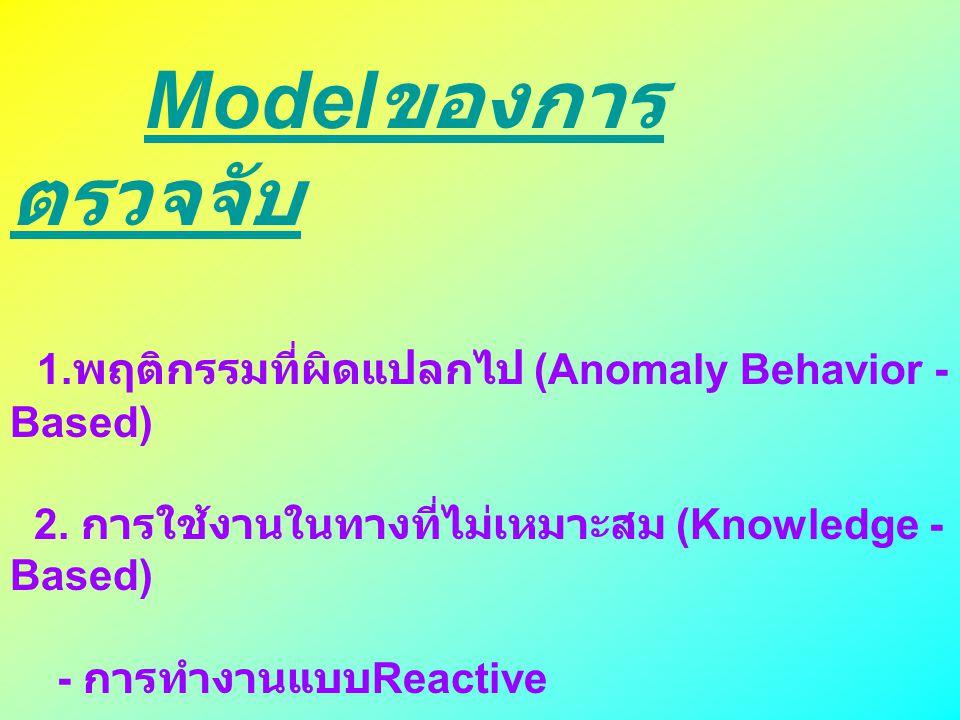 Model ของการ ตรวจจับ 1. พฤติกรรมที่ผิดแปลกไป (Anomaly Behavior - Based) 2. การใช้งานในทางที่ไม่เหมาะสม (Knowledge - Based) - การทำงานแบบ Reactive - กา
