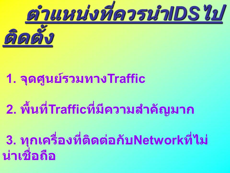 ตำแหน่งที่ควรนำ IDS ไป ติดตั้ง ตำแหน่งที่ควรนำ IDS ไป ติดตั้ง 1. จุดศูนย์รวมทาง Traffic 2. พื้นที่ Traffic ที่มีความสำคัญมาก 3. ทุกเครื่องที่ติดต่อกับ