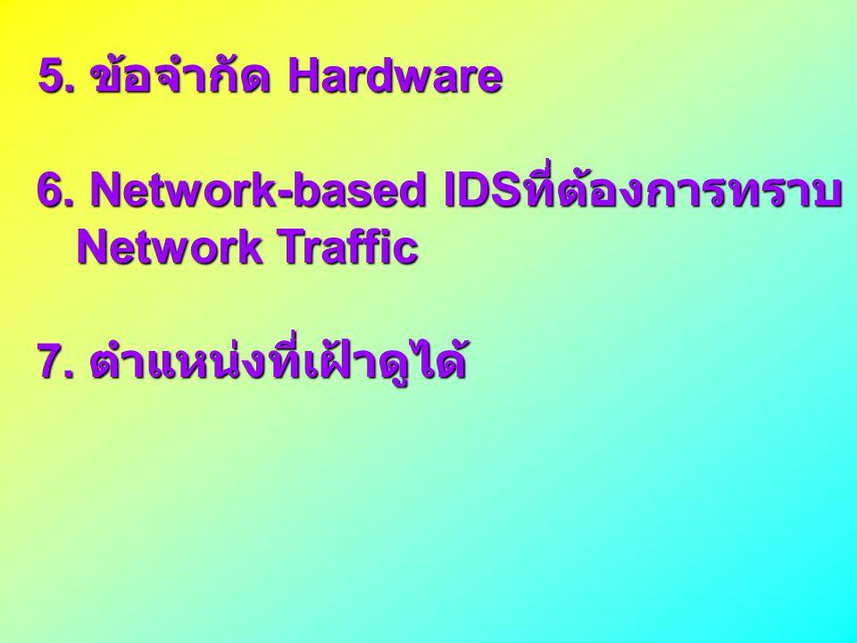5. ข้อจำกัด Hardware 5. ข้อจำกัด Hardware 6. Network-based IDS ที่ต้องการทราบ 6. Network-based IDS ที่ต้องการทราบ Network Traffic Network Traffic 7. ต
