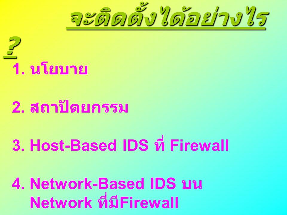 จะติดตั้งได้อย่างไร ? จะติดตั้งได้อย่างไร ? 1. นโยบาย 2. สถาปัตยกรรม 3. Host-Based IDS ที่ Firewall 4. Network-Based IDS บน Network ที่มี Firewall