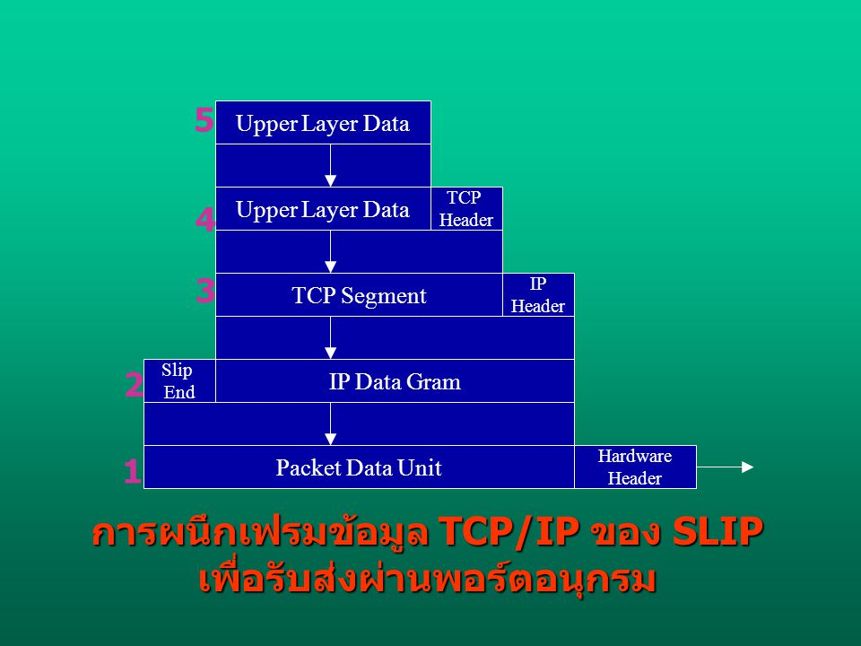 Upper Layer Data TCP Segment IP Data Gram Packet Data Unit Slip End IP Header TCP Header Hardware Header การผนึกเฟรมข้อมูล TCP/IP ของ SLIP เพื่อรับส่ง