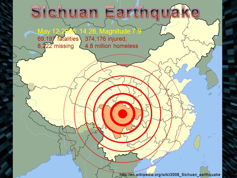 May 12,2008: 14.28, Magnitude 7.9 69,197 fatalities374,176 injured, 8,222 missing4.8 million homeless http://en.wikipedia.org/wiki/2008_Sichuan_earthq