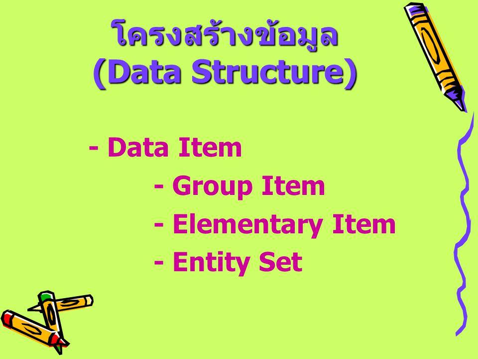 โครงสร้างข้อมูล (Data Structure) โครงสร้างข้อมูล (Data Structure) - Data Item - Group Item - Elementary Item - Entity Set