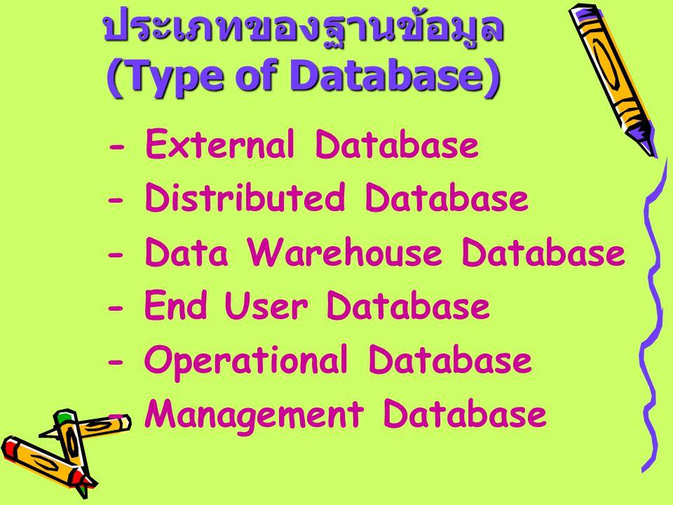 ประเภทของฐานข้อมูล (Type of Database) - External Database - Distributed Database - Data Warehouse Database - End User Database - Operational Database