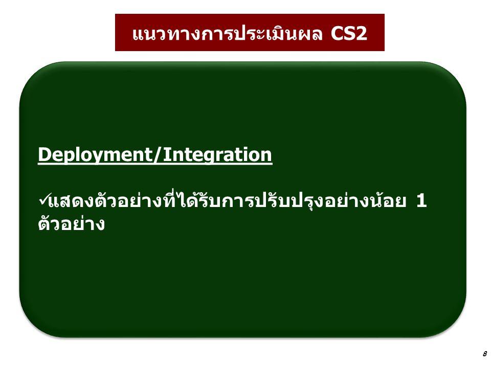 8 แนวทางการประเมินผล CS2 Deployment/Integration แสดงตัวอย่างที่ได้รับการปรับปรุงอย่างน้อย 1 ตัวอย่าง Deployment/Integration แสดงตัวอย่างที่ได้รับการปร