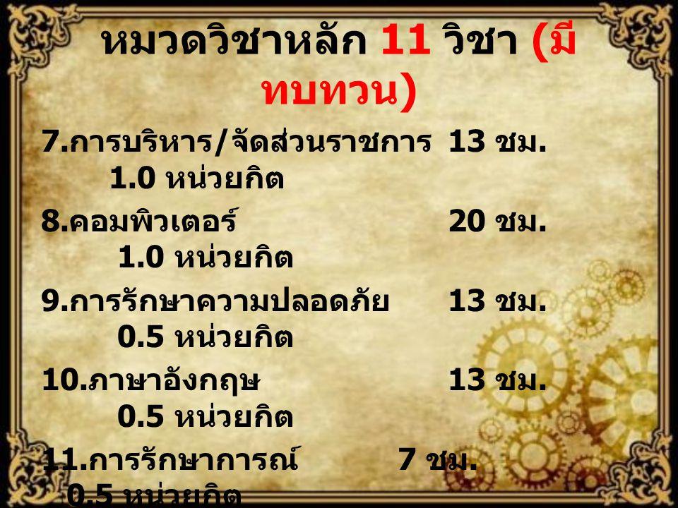 หมวดวิชาหลัก 11 วิชา ( มี ทบทวน ) 7. การบริหาร / จัดส่วนราชการ 13 ชม. 1.0 หน่วยกิต 8. คอมพิวเตอร์ 20 ชม. 1.0 หน่วยกิต 9. การรักษาความปลอดภัย 13 ชม. 0.