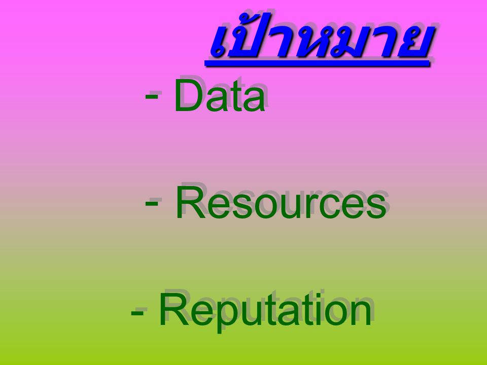 เป้าหมาย - Data - Resources - Reputation เป้าหมาย - Data - Resources - Reputation