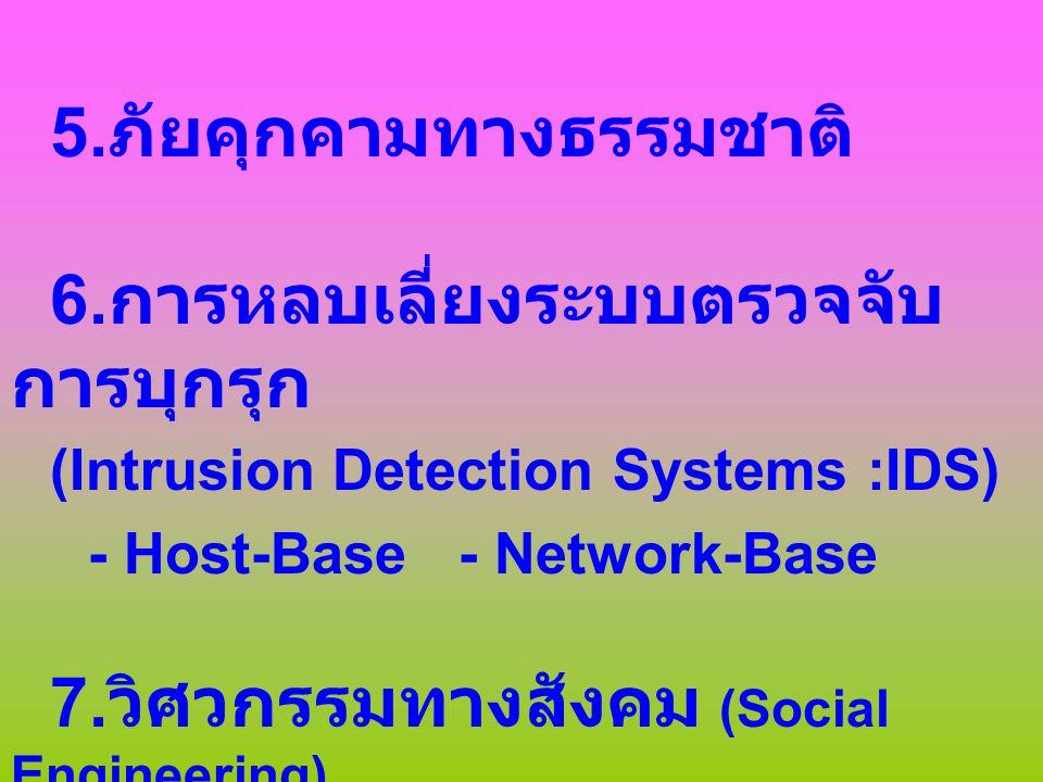 Application & Service 1.Service ที่มีจุดอ่อนสูงมาก - Telnet - Share File - e-mail - MIME (Multipurpose Internet Mail Extensions) - FTP (File Transfer Protocol) - DNS (Domain Name System) 2.