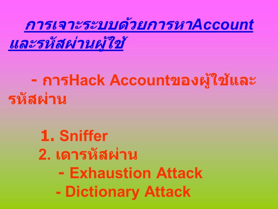การโจมตีด้วยการทำให้ Server ปฎิเสธการให้บริการ (Denial of Service : DoS) DoS แบบกระจาย (Distribute Denial Service :DDoS)