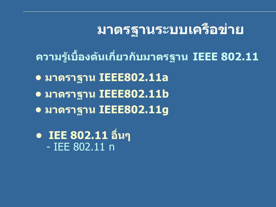 ตารางเปรียบเทียบความสามารถของมาตรฐาน 802.11 802.11b802.11a802.11g ปีที่เริ่มประกาศ มาตรฐาน 1999 2003 อัตราการส่ง ข้อมูลสูงสุด 11 Mbps 54 Mbps คลื่นความถี่ 2.4-2.5 GHz5.1-5.4 GHz5.4-5.7 GHz 5.7-5.9 GHz 2.4-2.5 GHz ความเร็วใน การส่งข้อมูล ปานกลางสูง ระยะในการส่ง ข้อมูล ไกลใกล้ไกล ค่าใช้จ่าย อุปกรณ์ ต่ำปานกลาง