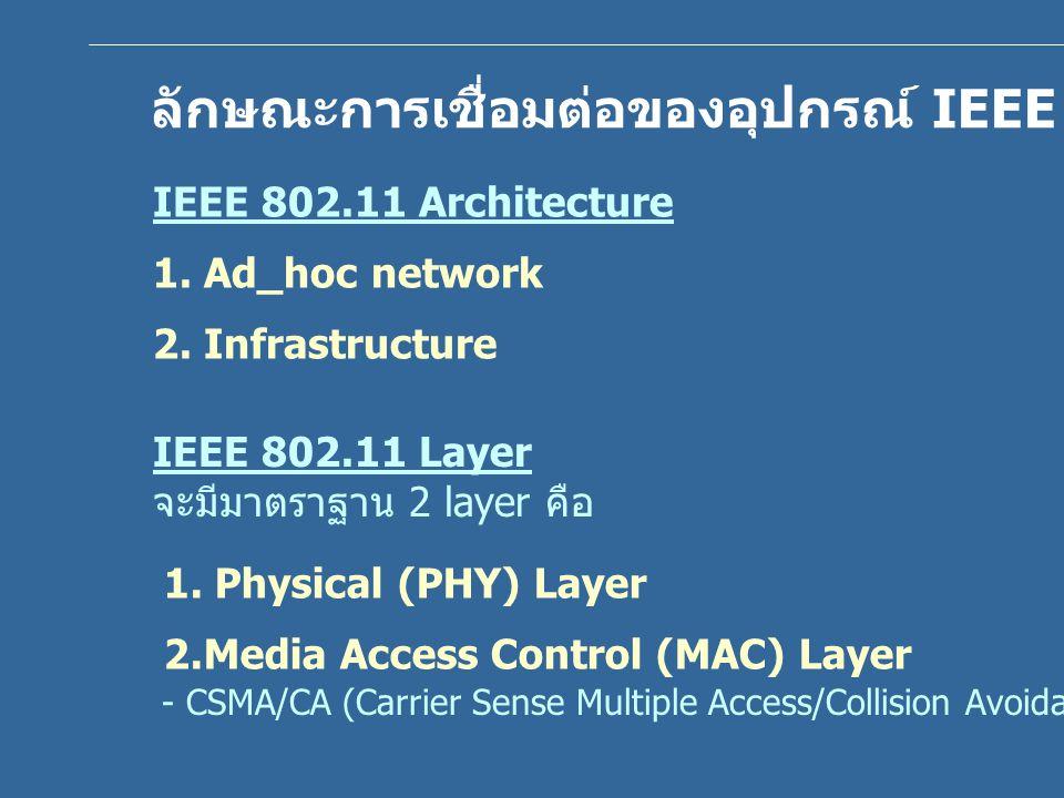 ลักษณะการเชื่อมต่อของอุปกรณ์ IEEE 802.11 WLAN IEEE 802.11 Architecture 1. Ad_hoc network 2. Infrastructure IEEE 802.11 Layer จะมีมาตราฐาน 2 layer คือ