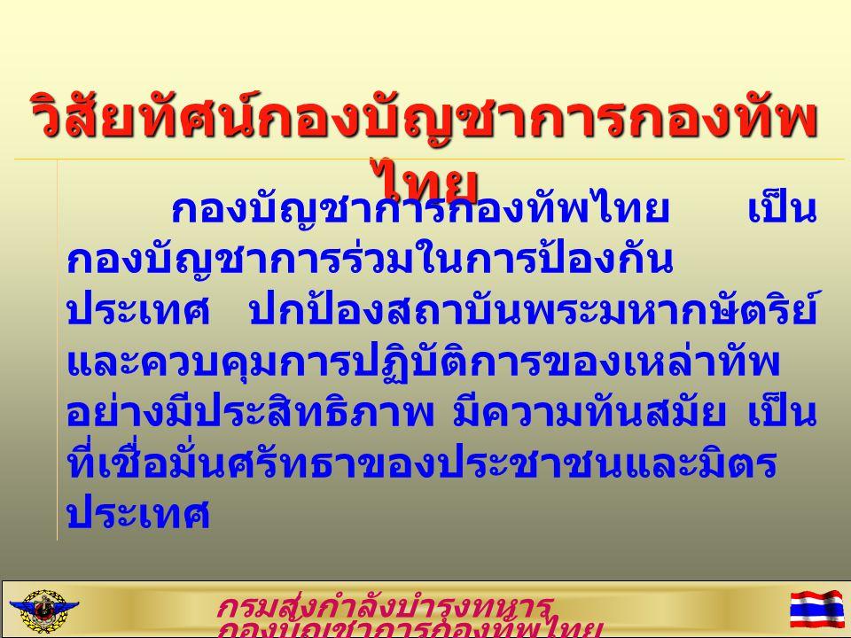 วิสัยทัศน์กองบัญชาการกองทัพ ไทย กองบัญชาการกองทัพไทย เป็น กองบัญชาการร่วมในการป้องกัน ประเทศ ปกป้องสถาบันพระมหากษัตริย์ และควบคุมการปฏิบัติการของเหล่า