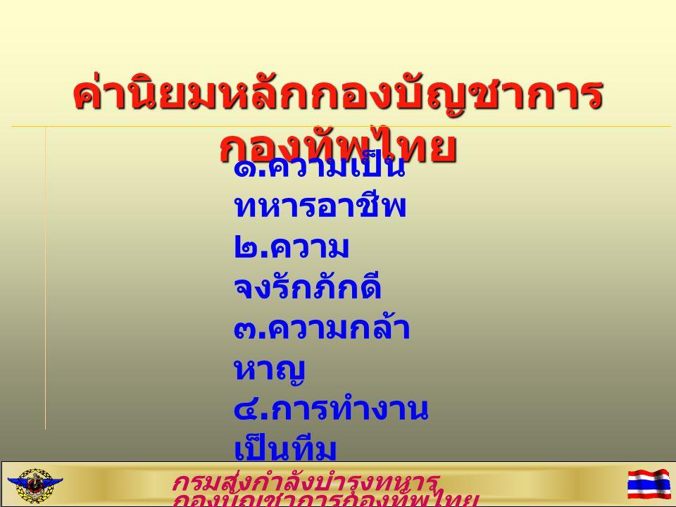 ค่านิยมหลักกองบัญชาการ กองทัพไทย ๑.ความเป็น ทหารอาชีพ ๒.ความ จงรักภักดี ๓.ความกล้า หาญ ๔.การทำงาน เป็นทีม กรมส่งกำลังบำรุงทหาร กองบัญชาการกองทัพไทย