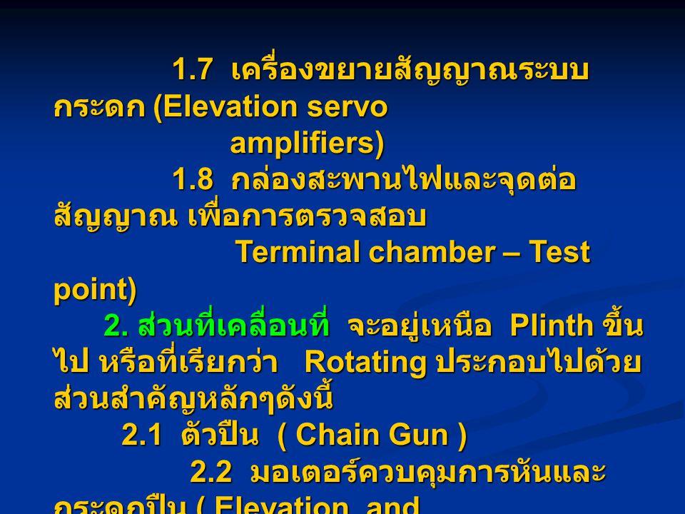 1.7 เครื่องขยายสัญญาณระบบ กระดก (Elevation servo 1.7 เครื่องขยายสัญญาณระบบ กระดก (Elevation servo amplifiers) amplifiers) 1.8 กล่องสะพานไฟและจุดต่อ สัญญาณ เพื่อการตรวจสอบ 1.8 กล่องสะพานไฟและจุดต่อ สัญญาณ เพื่อการตรวจสอบ Terminal chamber – Test point) Terminal chamber – Test point) 2.