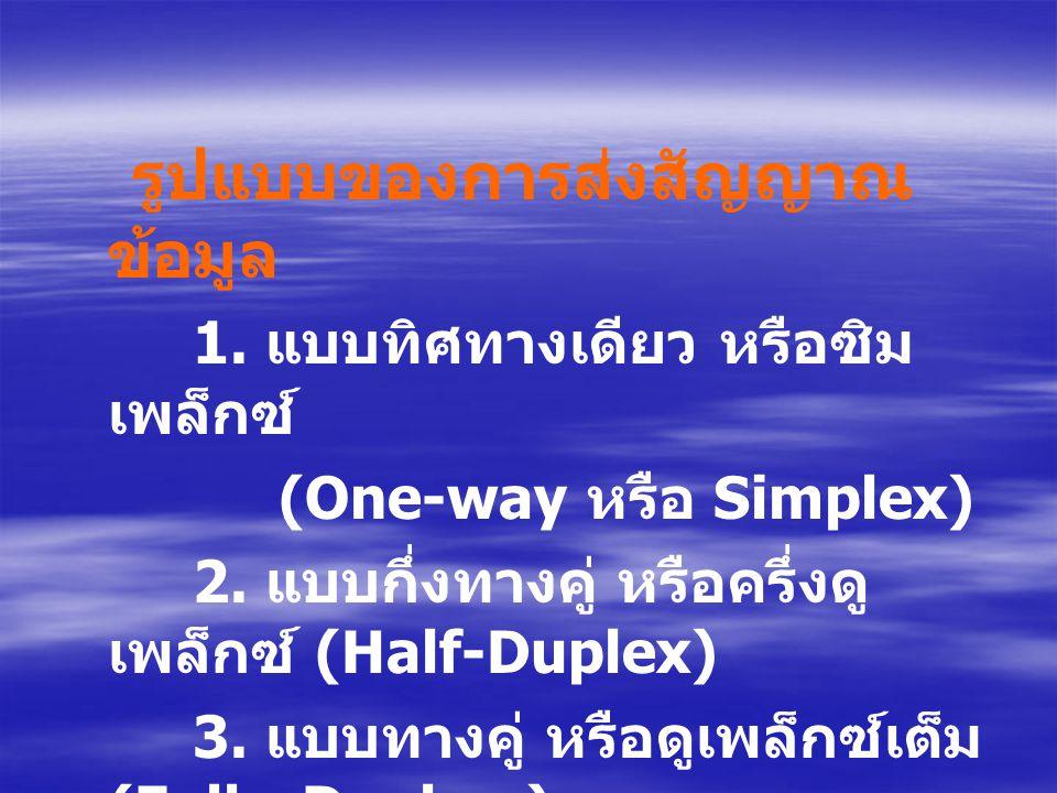 รูปแบบของการส่งสัญญาณ ข้อมูล 1. แบบทิศทางเดียว หรือซิม เพล็กซ์ (One-way หรือ Simplex) 2. แบบกึ่งทางคู่ หรือครึ่งดู เพล็กซ์ (Half-Duplex) 3. แบบทางคู่