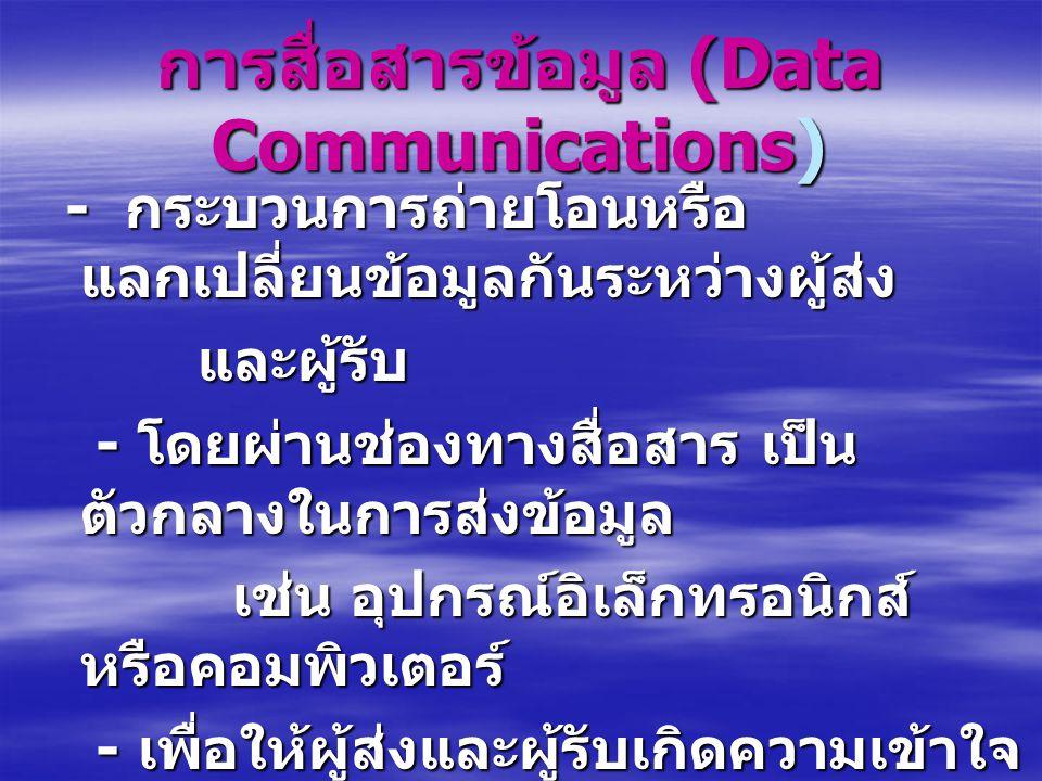 การสื่อสารข้อมูล (Data Communications) - กระบวนการถ่ายโอนหรือ แลกเปลี่ยนข้อมูลกันระหว่างผู้ส่ง - กระบวนการถ่ายโอนหรือ แลกเปลี่ยนข้อมูลกันระหว่างผู้ส่ง และผู้รับ และผู้รับ - โดยผ่านช่องทางสื่อสาร เป็น ตัวกลางในการส่งข้อมูล - โดยผ่านช่องทางสื่อสาร เป็น ตัวกลางในการส่งข้อมูล เช่น อุปกรณ์อิเล็กทรอนิกส์ หรือคอมพิวเตอร์ เช่น อุปกรณ์อิเล็กทรอนิกส์ หรือคอมพิวเตอร์ - เพื่อให้ผู้ส่งและผู้รับเกิดความเข้าใจ ซึ่งกันและกัน - เพื่อให้ผู้ส่งและผู้รับเกิดความเข้าใจ ซึ่งกันและกัน