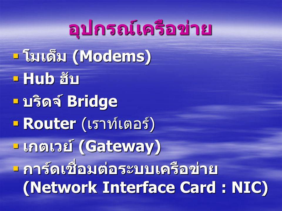 อุปกรณ์เครือข่าย  โมเด็ม (Modems)  Hub ฮับ  บริดจ์ Bridge  Router ( เราท์เตอร์ )  เกตเวย์ (Gateway)  การ์ดเชื่อมต่อระบบเครือข่าย (Network Interface Card : NIC)
