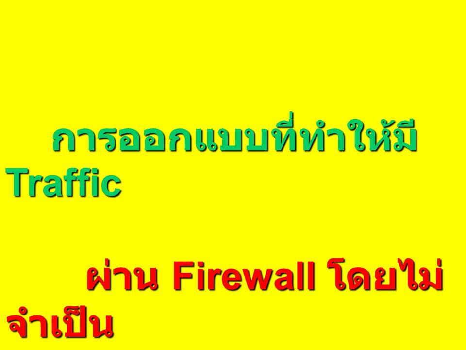 การออกแบบที่ทำให้มี Traffic การออกแบบที่ทำให้มี Traffic ผ่าน Firewall โดยไม่ จำเป็น ผ่าน Firewall โดยไม่ จำเป็น