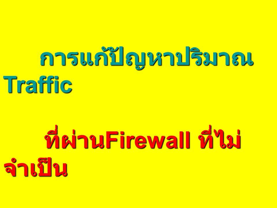 การแก้ปัญหาปริมาณ Traffic ที่ผ่าน Firewall ที่ไม่ จำเป็น ที่ผ่าน Firewall ที่ไม่ จำเป็น โดยจัดวาง DB Server ใหม่ โดยจัดวาง DB Server ใหม่