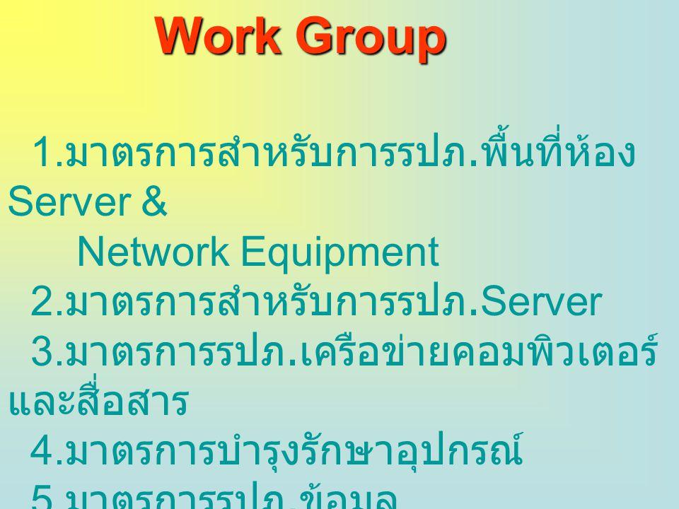 Work Group 1. มาตรการสำหรับการรปภ. พื้นที่ห้อง Server & Network Equipment 2. มาตรการสำหรับการรปภ.Server 3. มาตรการรปภ. เครือข่ายคอมพิวเตอร์ และสื่อสาร