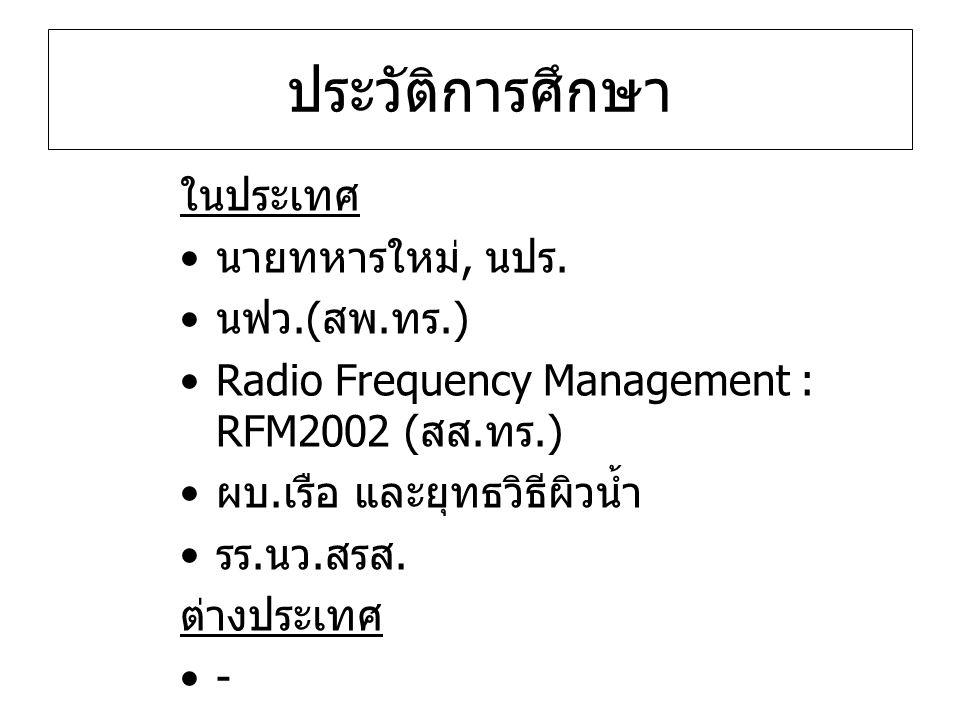 ประวัติการศึกษา ในประเทศ นายทหารใหม่, นปร. นฟว.( สพ. ทร.) Radio Frequency Management : RFM2002 ( สส. ทร.) ผบ. เรือ และยุทธวิธีผิวน้ำ รร. นว. สรส. ต่าง