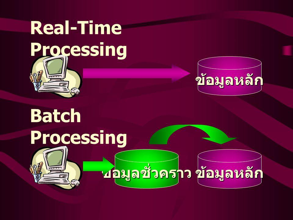ข้อมูลหลักข้อมูลชั่วคราว ข้อมูลหลัก Batch Processing Real-Time Processing