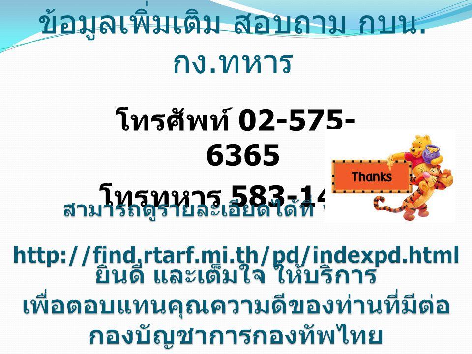 โทรศัพท์ 02-575- 6365 โทรทหาร 583-1442 ข้อมูลเพิ่มเติม สอบถาม กบน. กง. ทหาร