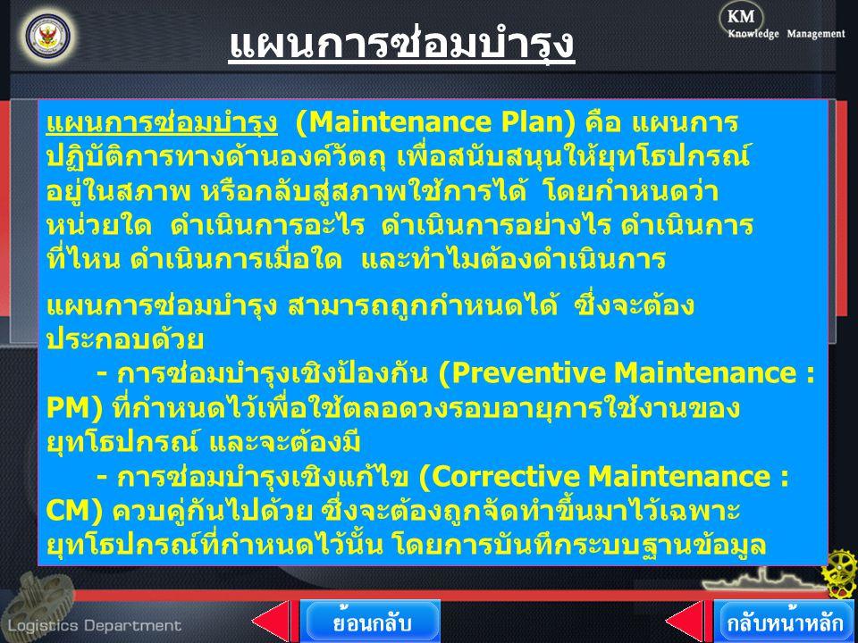 แผนการซ่อมบำรุง (Maintenance Plan) คือ แผนการ ปฏิบัติการทางด้านองค์วัตถุ เพื่อสนับสนุนให้ยุทโธปกรณ์ อยู่ในสภาพ หรือกลับสู่สภาพใช้การได้ โดยกำหนดว่า หน