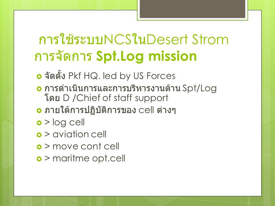 การใช้ระบบ NCS ใน Desert Strom การจัดการ Spt.Log mission  จัดตั้ง Pkf HQ. led by US Forces  การดำเนินการและการบริหารงานด้าน Spt/Log โดย D /Chief of