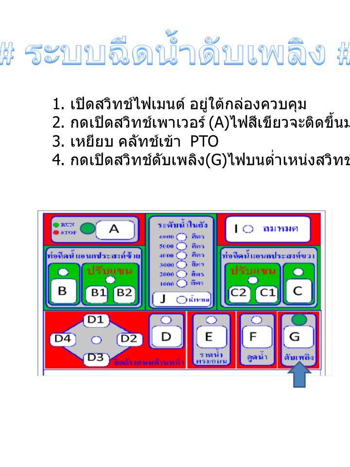 1. เปิดสวิทช์ไฟเมนต์ อยู่ใต้กล่องควบคุม 2. กดเปิดสวิทช์เพาเวอร์ (A) ไฟสีเขียวจะติดขึ้นมาเพื่อเปิดระบบ 3. เหยียบ คลัทช์เข้า PTO 4. กดเปิดสวิทช์ดับเพลิง