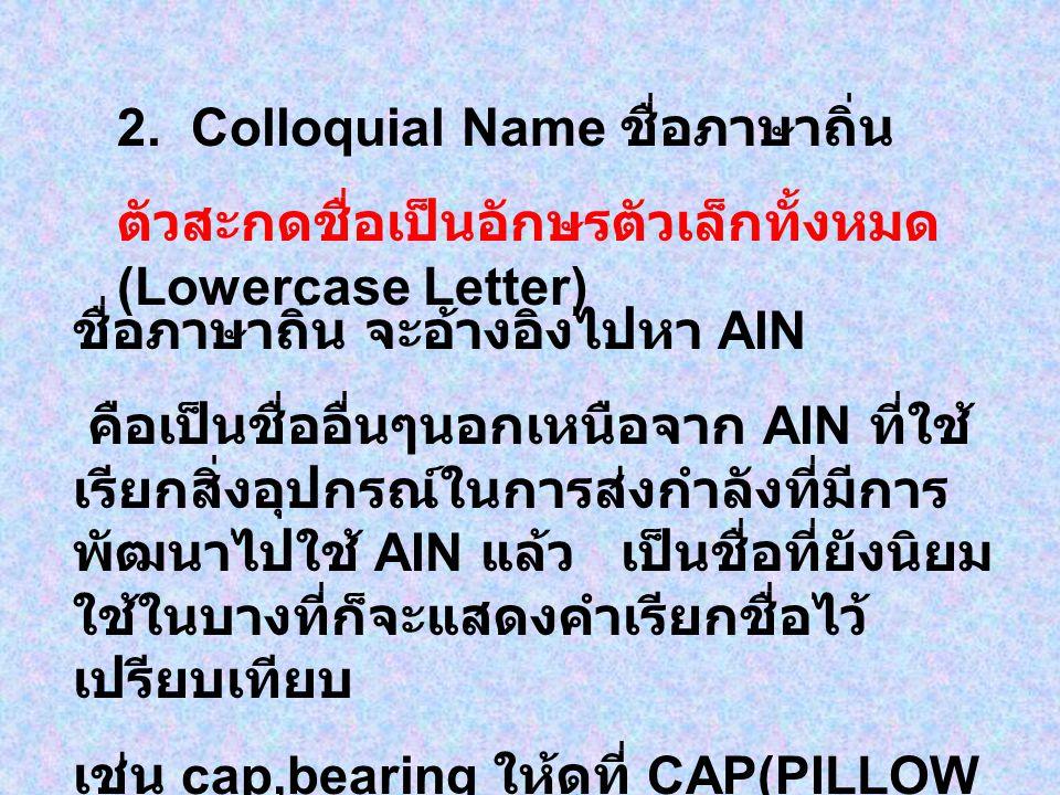 2. Colloquial Name ชื่อภาษาถิ่น ตัวสะกดชื่อเป็นอักษรตัวเล็กทั้งหมด (Lowercase Letter) ชื่อภาษาถิ่น จะอ้างอิงไปหา AIN คือเป็นชื่ออื่นๆนอกเหนือจาก AIN ท
