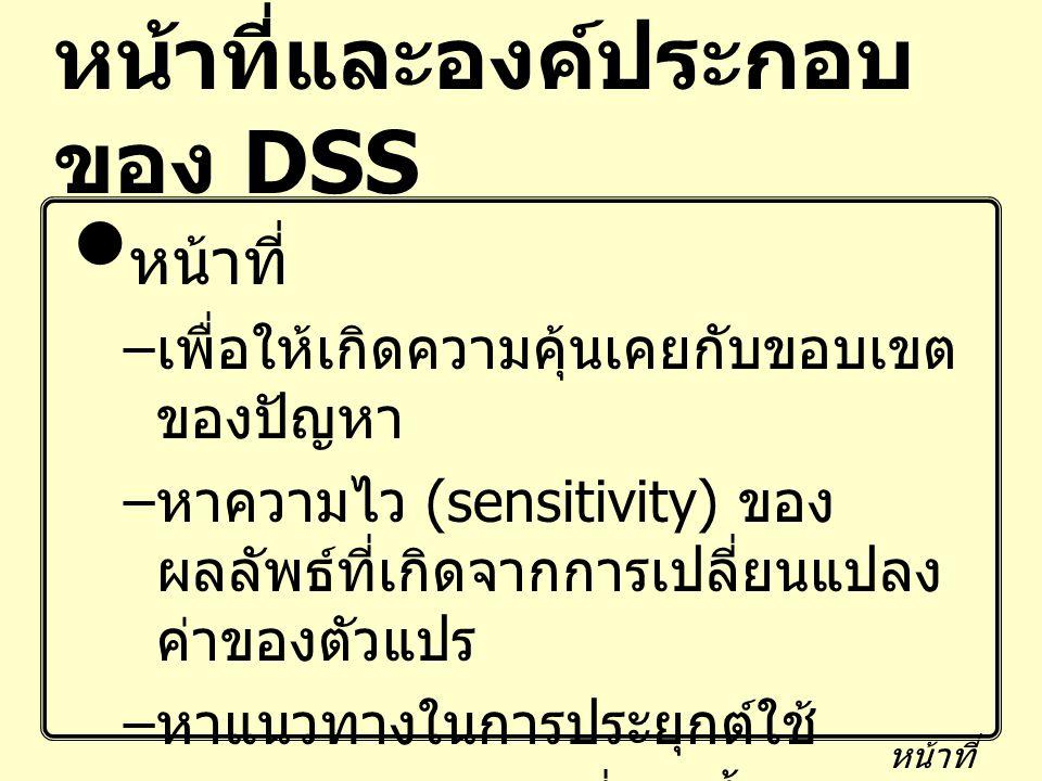 หน้าที่และองค์ประกอบ ของ DSS หน้าที่ – เพื่อให้เกิดความคุ้นเคยกับขอบเขต ของปัญหา – หาความไว (sensitivity) ของ ผลลัพธ์ที่เกิดจากการเปลี่ยนแปลง ค่าของตั