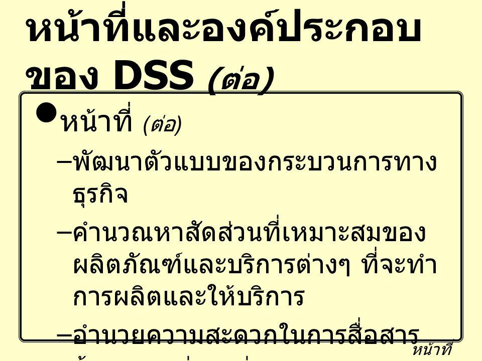 หน้าที่และองค์ประกอบ ของ DSS ( ต่อ ) หน้าที่ ( ต่อ ) – พัฒนาตัวแบบของกระบวนการทาง ธุรกิจ – คำนวณหาสัดส่วนที่เหมาะสมของ ผลิตภัณฑ์และบริการต่างๆ ที่จะทำ
