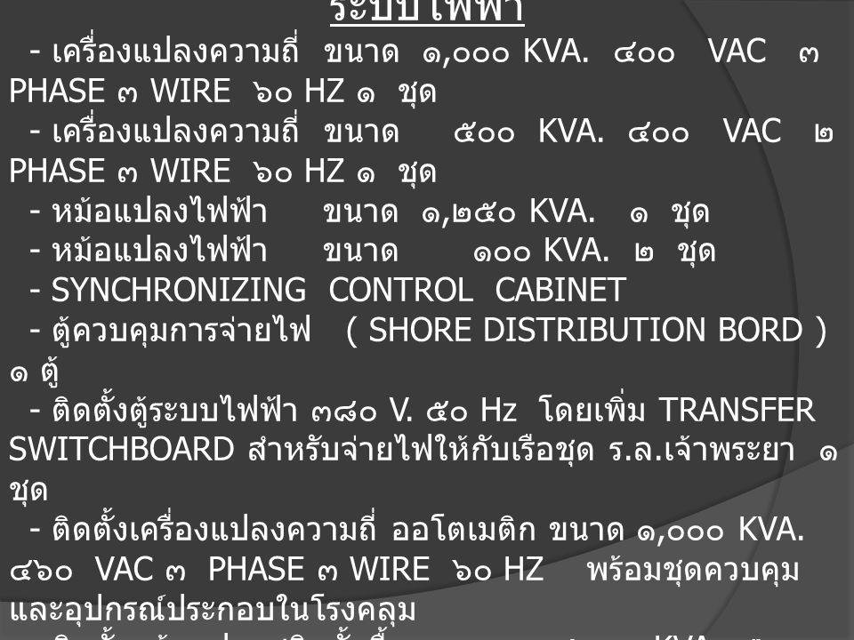 ๕. สิ่งอำนวยความสะดวก ระบบไฟฟ้า - เครื่องแปลงความถี่ ขนาด ๑, ๐๐๐ KVA. ๔๐๐ VAC ๓ PHASE ๓ WIRE ๖๐ HZ ๑ ชุด - เครื่องแปลงความถี่ ขนาด ๕๐๐ KVA. ๔๐๐ VAC ๒